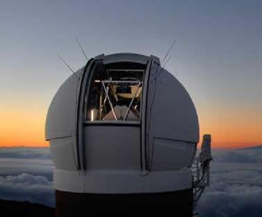 O telescópio Pan-starrs fica no topo do vulcão Haleakala, no Havaí