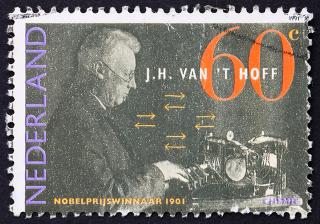 Selo impresso na Holanda em homenagem a J. H. Van't Hoff, ganhador do Prêmio Nobel de Química em 1901 *