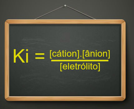 A expressão do cálculo da constante de ionização segue o padrão de outras constantes