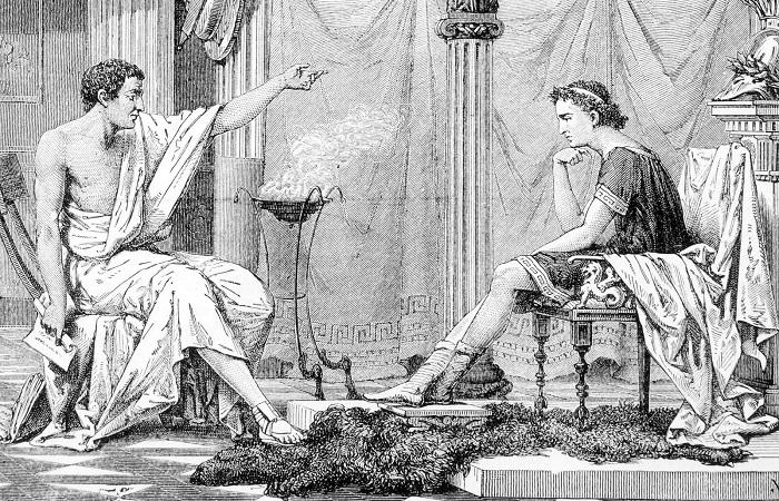 Aristóteles, à esquerda, conversando com seu pupilo, Alexandre, imperador da Macedônia.