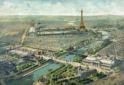 """Pintura da visão panorâmica de Paris, em 1900, durante a """"Exposição Universal"""""""