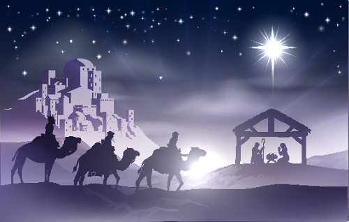 Os três Reis Magos indo entregar presentes ao Menino Jesus