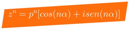 Representação da fórmula usada para calcular potências de números complexos