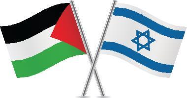 Bandeira da Palestina à esquerda e de Israel à direita