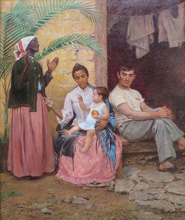 """Acima, quadro de Modesto Brocos y Gómez intitulado """"A Redenção de Cam"""", 1895"""