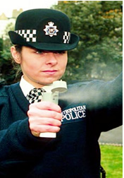 Gás CS como arma policial.
