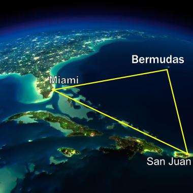 Imagem de satélite da área do Triângulo das Bermudas