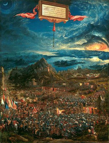 "Acima, ""A Batalha de Alexandre"", de Altdorfer, 1529"