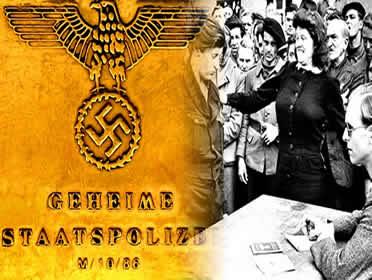 Integrantes da GESTAPO recrutando presos políticos para os campos de concentração.