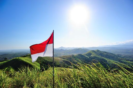 Bandeira da Indonésia na colina de Telang, Kalimantan do Sul, Indonésia