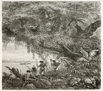 Gravura retratando indígenas amazônicos. Os indígenas tiveram sua história excluída das narrativas das ações dos homens no país