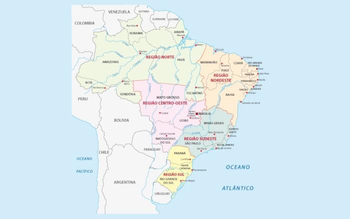 O Brasil é dividido em cinco regiões segundo suas particularidades.