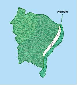 O Agreste se localiza entre o litoral e o sertão