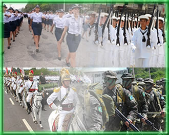 Aeronáutica, Artilheiros da Marinha, Cavalaria e Infantaria do Exército