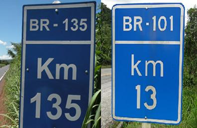 As placas marcando quilômetro 135 e 13 indicam determinada posição em uma estrada