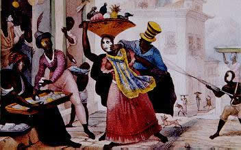 Jean-Baptiste Debret (1768-1848) retratou a prática do entrudo durante sua estadia no Brasil através da gravura acima