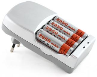 Baterias de níquel-cádmio em carregador