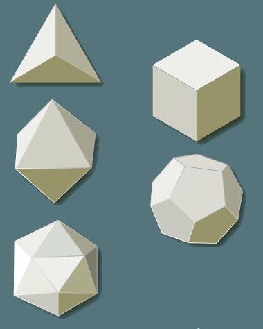 Os poliedros convexos são aqueles que estão em um mesmo semiespaço, limitados por uma de suas faces