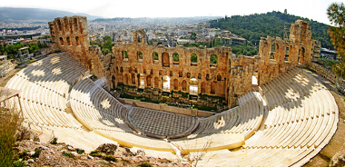 Ruínas de um antigo anfiteatro grego