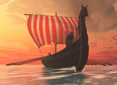 Acima, um modelo de embarcação usada pelos vikings