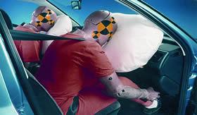 Airbag inflado de gás nitrogênio.