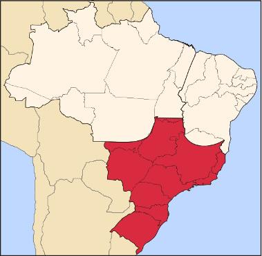 Mapa da Região Centro-Sul do Brasil
