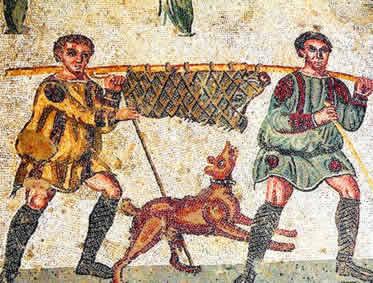 Mosaico retratando a prática da caça realizada pelos colonos romanos.