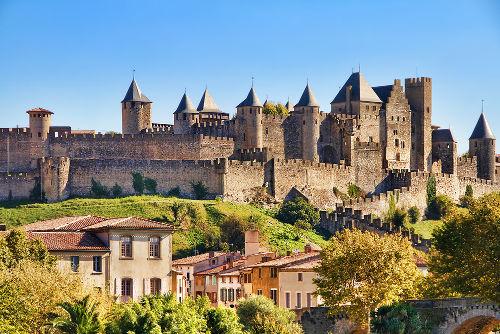 Castelo da cidade medieval de Carcassonne, na França