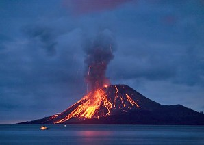 Imagem de um vulcão em erupção.
