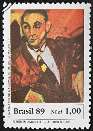 """Selo postal com a obra """"O homem amarelo"""" (Anita Malfatti, 1917) *"""