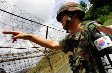 Militar sul-coreano na fronteira com a Coreia do Norte
