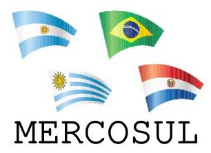 Bandeiras dos membros efetivos do Mercosul