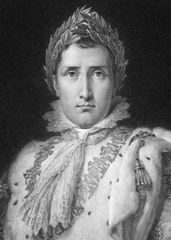 Napoleão Bonaparte representado com uma coroa de louros