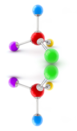 O carbono quiral possui todos os ligantes diferentes e seu isômero é exatamente a sua imagem especular