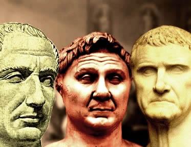 Júlio César, Pompeu e Crasso: os generais responsáveis pela formação do Primeiro Triunvirato.