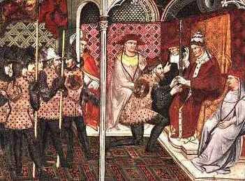 Cerimônia de consagração entre suserano e vassalo.