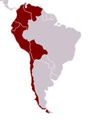 Os países em destaque fazem parte da América Andina.