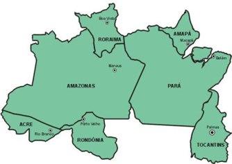 Mapa da região Norte com seus respectivos estados e capitais.