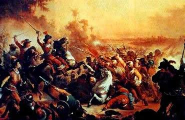 A batalha do Guararapes: o confronto entre os luso-pernambucanos e holandeses.