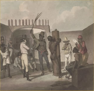 Aquarela Açoitamento de escravos na Ponta do Calabouço, de Augustus Earle (1793-1838), retratando as punições aos escravos no Brasil