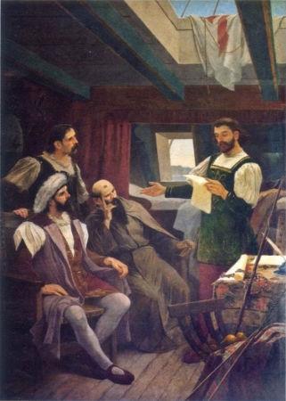 Pero Vaz de Caminha retratado lendo a carta para Cabral e outros tripulantes.