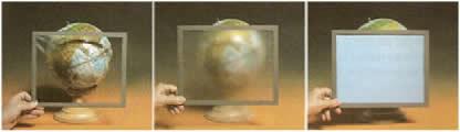 A figura nos mostra os três meios de propagação da luz: transparente, translúcido e opaco