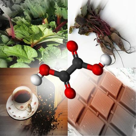 O ácido oxálico está presente em diversos alimentos como o ruibarbo, chá-preto, nas folhas da beterraba e no chocolate