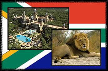 Bandeira da África do Sul e atrações do país