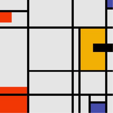 Acima, um dos quadros mais famosos de Mondrian, representante do neoplasticismo