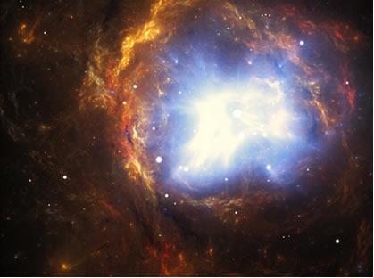O clímax da produção de neutrinos (tipos de léptons) ocorre quando as estrelas morrem, como na explosão da supernova acima