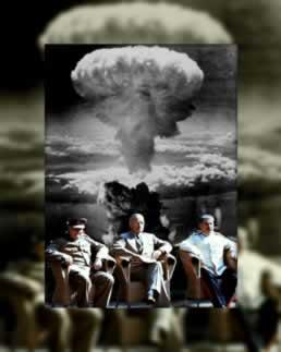 Os líderes da Inglaterra, EUA e União Soviética decidiram os rumos que o mundo iria tomar após a Segunda Guerra Mundial (1939-1945)