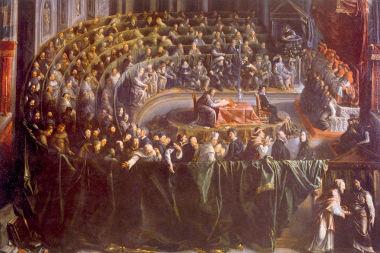 Acima, quadro representando o julgamento de Galileu a propósito da tese referente ao movimento da Terra em torno do Sol