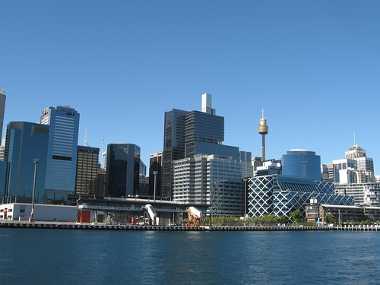Sidney, capital australiana. Principal centro comercial da Oceania