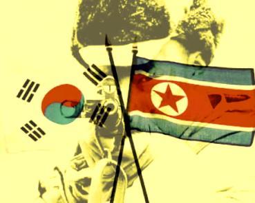 Guerra da Coreia: duas bandeiras separando diferentes ideologias.